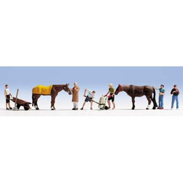 15634 Noch. Stald arbejde med heste. H0.