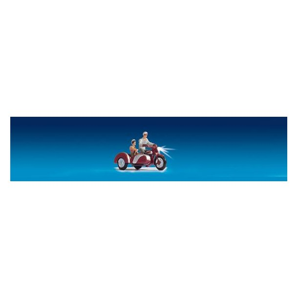 17514 NOCH Motorcykel med sidevogn med LYS for og bag. H0.